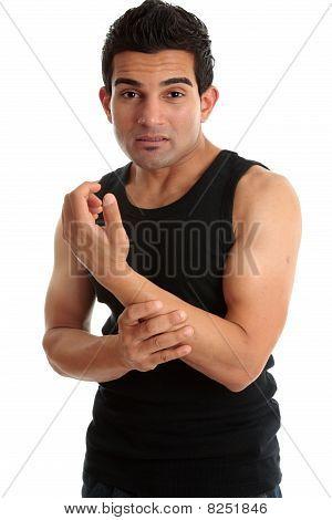 Man, Fitness Instructor, Builder Nursing Sore Arm