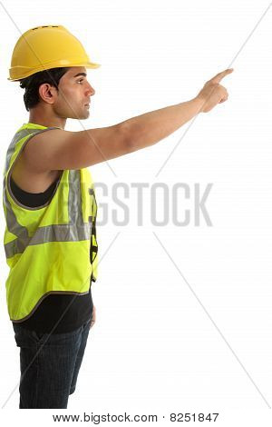 Construction Worker Or Builder Pointing Finger