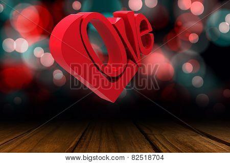 Love heart against shimmering light design over boards