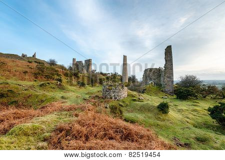 Old Copper Mines On Caradon Hill In Cornwall