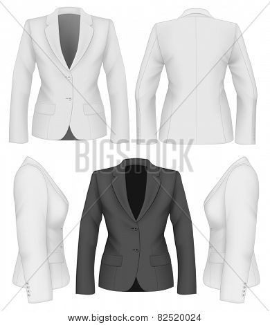 Ladies suit jacket for business women. Vector illustration