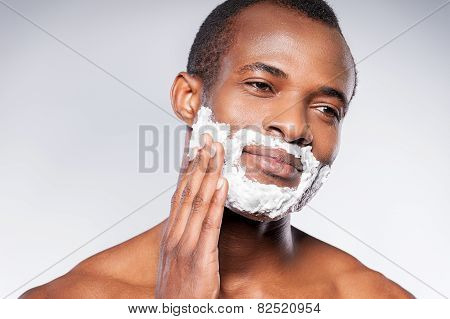 Applying Cream On Face.