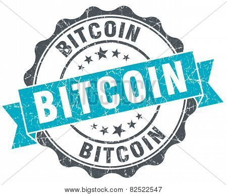 Bitcoin Vintage Turquoise Seal Isolated On White