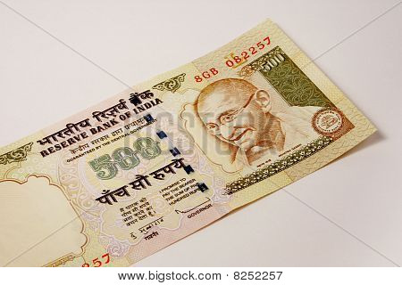 single 500 rupee indian currency note