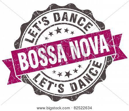 Bossa Nova Grunge Violet Seal Isolated On White