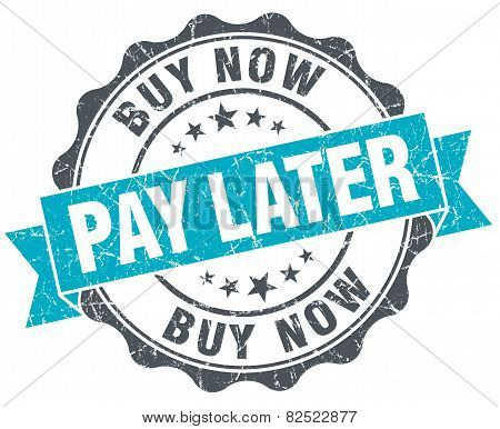Buy Now Pay Later Vintage Turquoise Seal Isolated On White