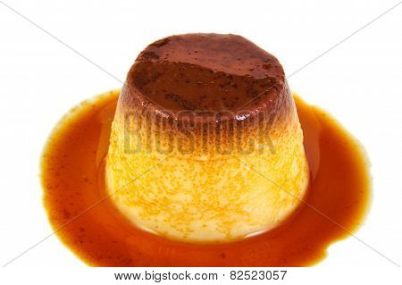 Creme caramel, caramel custard or custard pudding isolated on white background