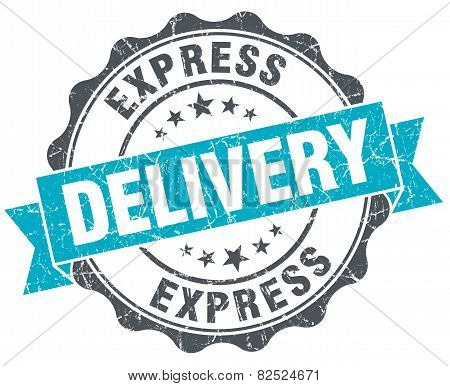 Express Delivery Vintage Turquoise Seal Isolated On White