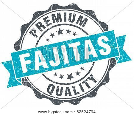 Fajitas Vintage Turquoise Seal Isolated On White