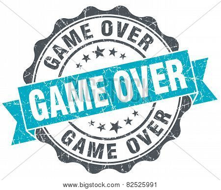 Game Over Vintage Turquoise Seal Isolated On White
