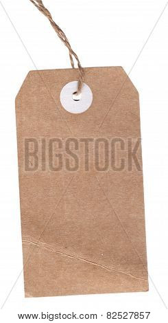 Vintage Blank Label With String Isolated