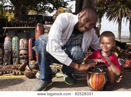 Zulu Street vendor with tourist.