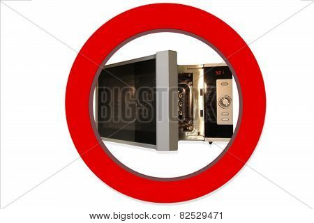 Microwave photo in red ring  as prohibition sign
