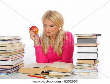 Young Pretty Smart Woman With Lots Of Books Reading And Study. Isolated On White Background