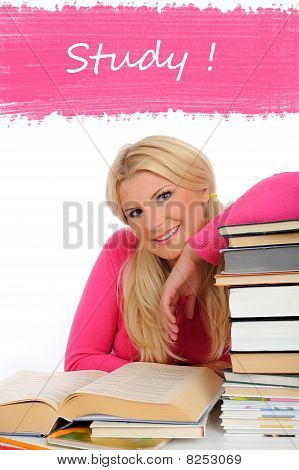 Portrait Of Young Student Woman With Lots Of Books  Studing For Exams