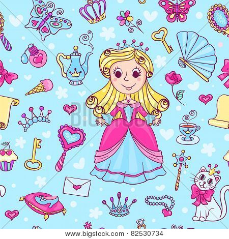 Seamless Pattern With Cute Little Princess In The Pink