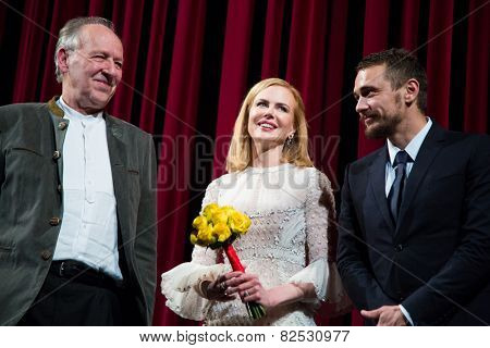 BERLIN, GERMANY - FEBRUARY 06: Nicole Kidman, James Franco, Werner Herzog, Queen of the Desert' premiere. 65th Film Festival at Berlinale Palace,  February 6, 2015 in Berlin, Germany.