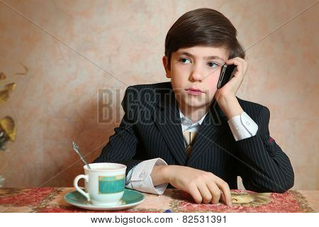 School Boy In Businessman Suit