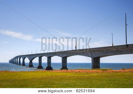Landscape of Confederation Bridge from Borden-Carleton, Prince Edward Island, Canada