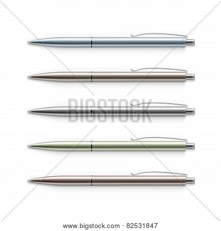Vector Set of Blank Multicolored Metal Pens