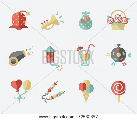 Party icons, flat design