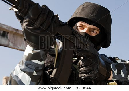 Soldier Shooting With A Gun