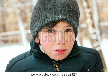 Preteen Boy Cry Frustrated After Tearing His Jacket