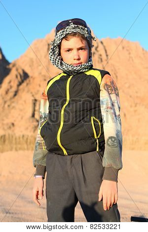 Handsome Preteen Boy On Safari Trip In The Egyptian Desert