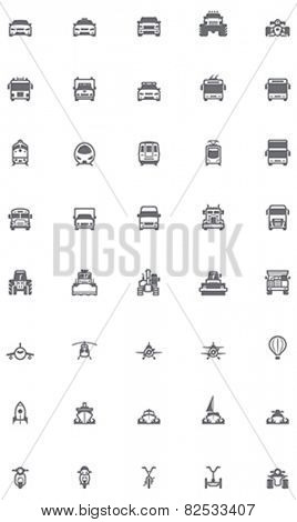 Set of the transportation related icons