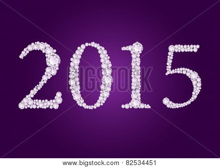 Vector diamond 2015 text on deep purple background