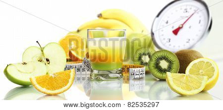 diet food concept vitamins mixed fruit drink
