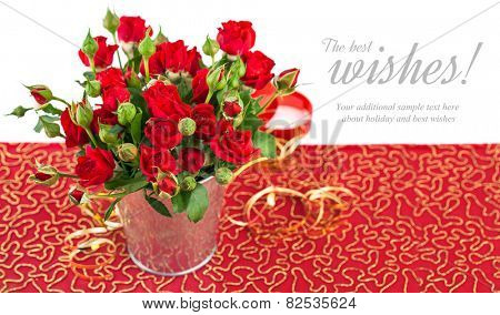 Bunch red roses in bucket postcard. Isolated on white background