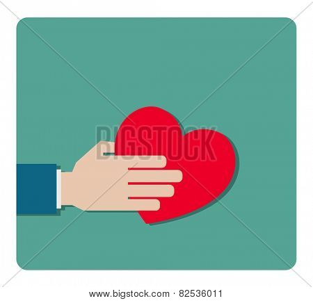 hand gives heart flat icon design