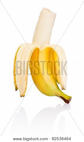 Peeled Banana With Bite Isolated On A White Background