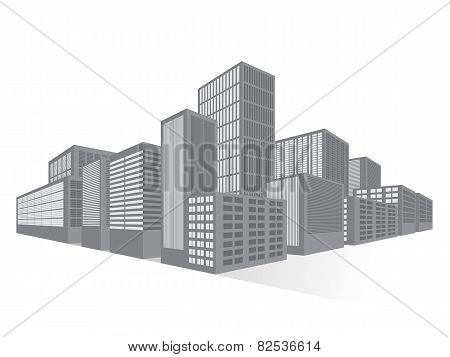 City Downtown Business District, Vector Flat Illustration