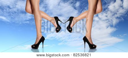 woman legs with black shoes stiletto heel