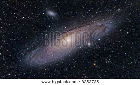 M31 Andromeda Galaxy, And It's Satellites M32 And M110 Small Elliptical Galaxies.