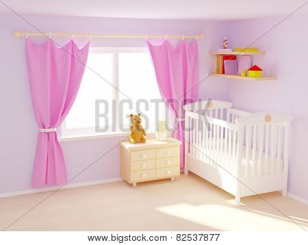 baby room 3D illustration