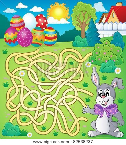 Maze 4 with Easter theme - eps10 vector illustration.