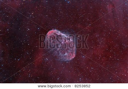 "Ngc6888 ""crescent"" Nebula. Supernova Explosion Remnants, Among Stars In The Background."