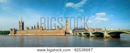 Big Ben and House of Parliament in London panorama over Thames River.