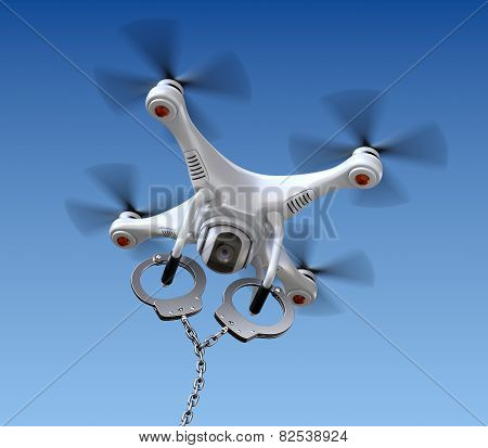 Quadrocopter drone with handcuffs