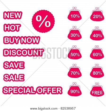 Retail Text Sign Sticky Labels, Flat Vector Illustration