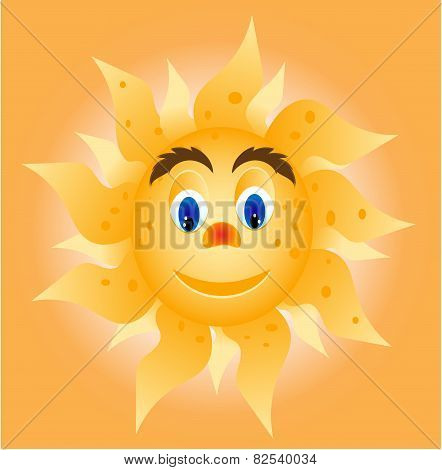 Sun with face - eyes, nose, mouth