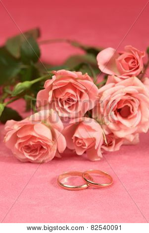 Golden Ring And Roses For Wedding