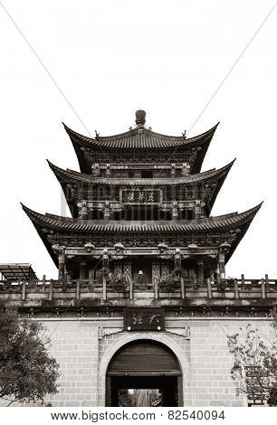 Wuhua House as the landmark of Dali Town, Yunnan, China.
