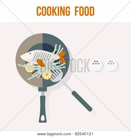 Cooking Fish Kitchen Recipe Card, Flat Vector Illustration