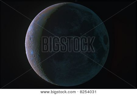 Color Crescent Moon With Ashen Light
