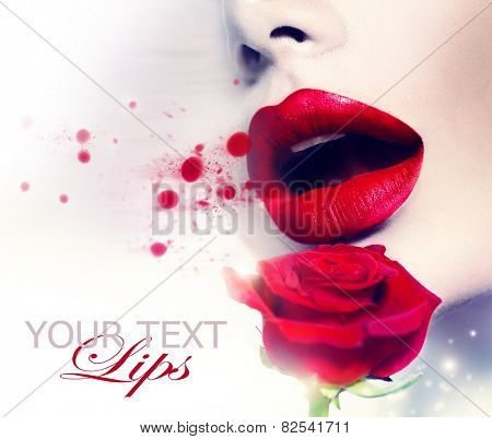 Beautiful Red Lips and Rose Flower. Beauty Girl. Sensual Mouth. Sexy Red Color Lips. St. Valentine's Day design. Part of Face