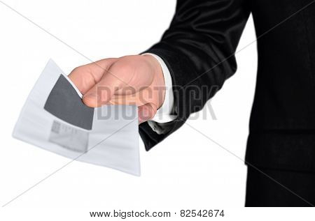 Isolated business man hand delivery mail
